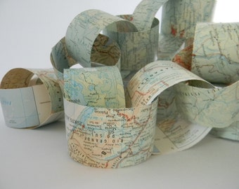 Paper chain DIY Vintage map travelers garland kit paper decor party decor map garland