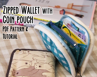 Zipped wallet with coin pouch