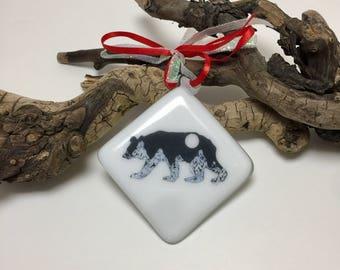 Fused glass, mountains, bears, handmade, art, home decor,handmade fused glass ornament, handmade fused glass, ornament, Christmas ornament