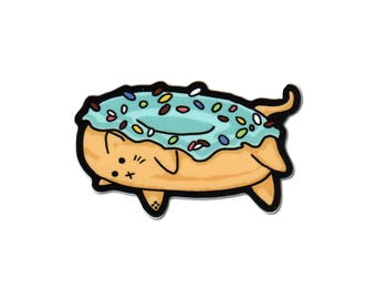 Cute Donut Cat Vinyl Laptop Sticker with Sprinkles