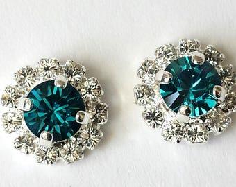 Indocolite Crystal Stud Earrings Blue Crystal Earrings Bridesmaid Jewelry Gift Indocolite Earrings Small Silver Stud Earrings