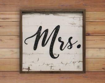 Mrs. 12x12 Wood Sign Wedding Decor