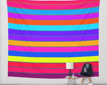 Wall Tapestry, Colorful Wall Tapestry, Striped Wall Tapestry, Colorful Stripes Tapestry, Colorful Tapestry, Tapestries, Rainbow Tapestry,