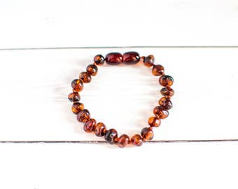 Baby Amber Teething Bracelet - Raw Baltic Amber - Teething Jewelry - Healing Amber Bracelet - Teething Necklace Companion - Teething Amber