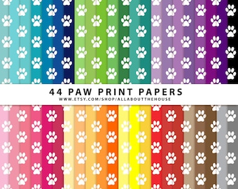"Paw Print Digital Paper Pack 12"" x 12"" Commercial and Personal Use Allowed pet, rainbow Paw Print Dog Animal puppy INSTANT DOWNLOAD"