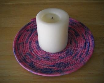 "Trivet//Round trivet//Coiled fabric trivet/ Round//Round potholder//Pink and blue trivet//8"" round coiled fabric trivet//Candle mat"
