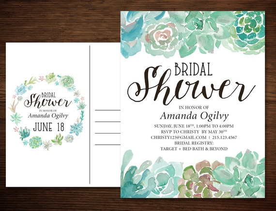 Succulent bridal shower invitation postcard in a rustic like this item filmwisefo Image collections