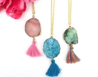 womens gift - statement necklace - druzy stone pendant with tassel - raw gemstone necklace - agate druzy jewelry - gold dipped druzy stone