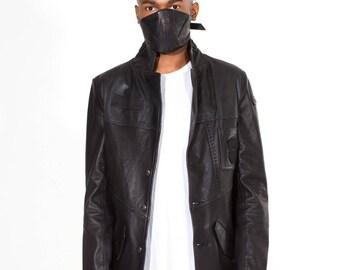 Black Leather Battalion Blazer
