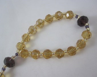 Amber and Purple Chinese Crystal Prayer Chaplet