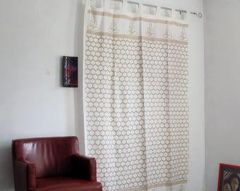 Hand block printed cotton tab top curtains,loop curtains,Buddha,Nirvana,boho ,bohemian,serene,mustard.