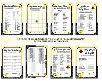 Bumble Bee Baby Shower Game, Printable Bee Game, Bee Shower Game, Bumble Bee Baby Game, Honey Bee Game, Bee Bingo - Printables 4 Less 0010