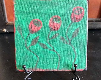 "But a Rose // Mini 4""x4"" Canvas Painting // Acrylic on Canvas // Gothic Art // Romantic Complexities"