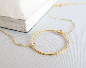 Gold Open Circle Necklace, Karma Circle Necklace, Simple Gold Jewelry, Gift For Her, Large Circle Necklace, Eternity Necklace,Single Circle