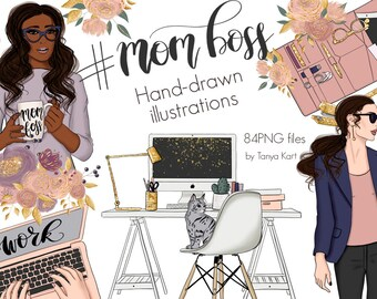 Planner Girl Clipart-Fashion Clipart-Boss Lady-African American-Mom Illustration-Boss Clipart-Flowers Clipart-Businesswoman-Handlettering