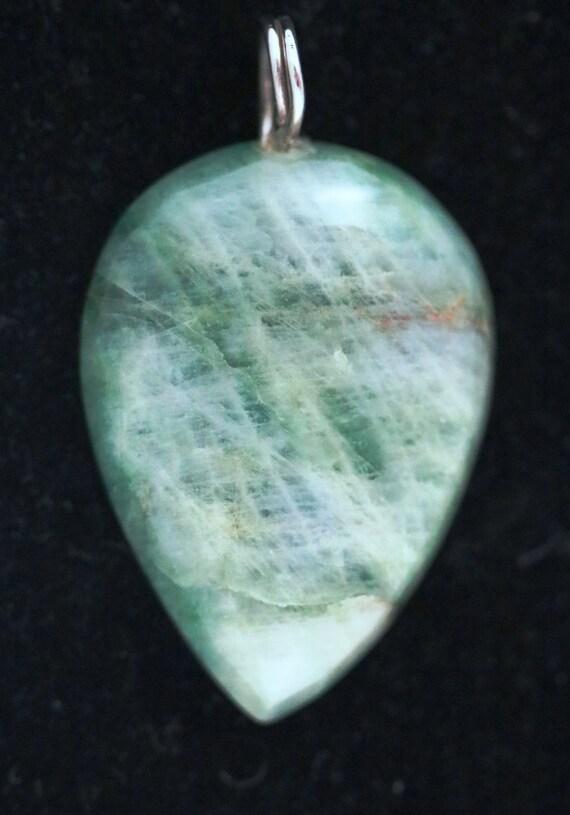Emerald pendant, green cabochon, silver twirl bail 76ct