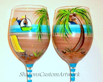 Palm Trees Hand Painted Wine Glasses Set of 2 - 20 oz. Beach Ball Beach Chair Umbrella Sail Boat Beach Wedding Anniversary Vacation