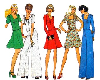 70s Square Neck Top, Flared Skirt, Wide Pants Pattern Simplicity 6662 Bell Bottom Trousers Womens Bust 34 Vintage Sewing Pattern
