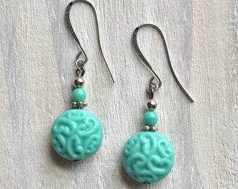 Turquoise Czech Glass Earrings, Carved, Aqua, Boho, Silver