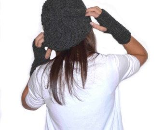 Slouchy hat / Chunky knitted beanie / Woman Winter hat / Dark gray  hat /  29 DIFFERENT COLORS