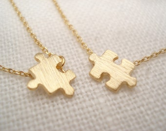 One pair of tiny puzzle necklaces...Gold, Silver or Rose gold, minimalist, everyday simple jewelry, sorority, wedding, bridesmaid gift