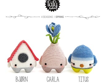 4 seasons: SPRING (bird house, crocus bulb, bluetit) • lalylala crochet pattern / amigurumi