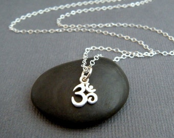 super tiny silver Om necklace. petite sterling silver pendant. yoga jewelry. small simple Ohm delicate charm. layering. dainty gift for yogi