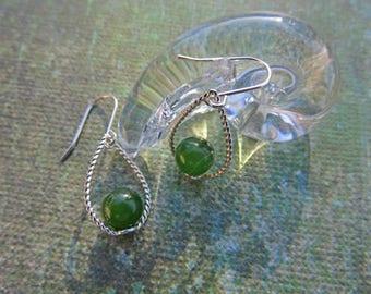 Jade Earrings - 6mm Jade Gemball Dangle Earrings - Jade & Sterling Silver Teardrop Earrings