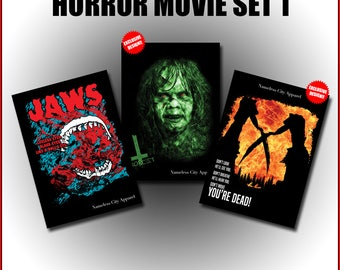 Horror Movie Postcards - halloween gift, inspired by 3 classic horror movies, collectible cards, film art, nameless city apparel