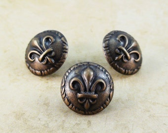 Fleur De Lis Metal Buttons 15mm Bronze Antique Brass Qty 3