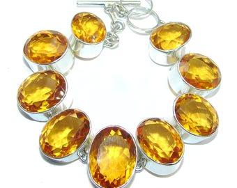 Golden Topaz Quartz Sterling Silver Bracelet - weight 46.90g - dim 7 8 inch - code 16-wrz-16-68