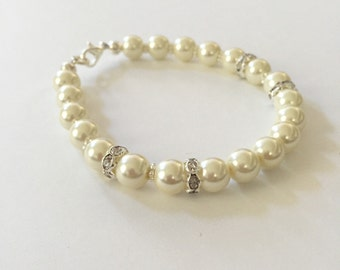 Ivory Pearl Rhinestone Bracelet