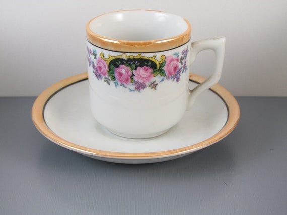 Vintage hand painted Japan demitasse lusterware cup and saucer / porcelain / china / bone china / tea / coffee