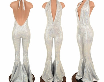 "Silver on White Shattered Glass Holographic ""Josie"" Halter Catsuit with Bell Bottom Flares - 155103"