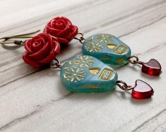 Sugar Skull Earrings // Skull Gift // Czech Glass Skull // Gothic Lolita // Day of the Dead // Red Roses // Red Hearts // Gothic Gift