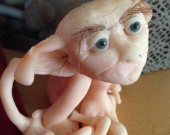 """Elf Fairy OOAK Handmade Art Doll Polymer Sculpture """"Bornbazine"""""""