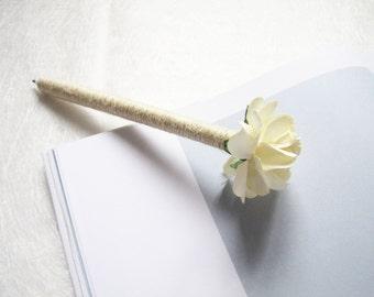 Burlap flower pen etsy set of 2 4 wedding guest book pens burlap pen ivory paper flower rustic wedding pen cottage chic decor wedding decor rustic flower mightylinksfo
