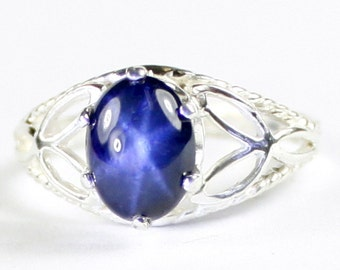 Blue Star Sapphire, 925 Sterling Silver Ring, SR137