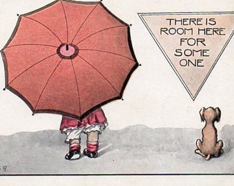 VINTAGE  POSTCARD, Umbrella Kid and dog, collected by junqueTrunque