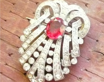 Vintage Art Deco Pin in Red and Silver