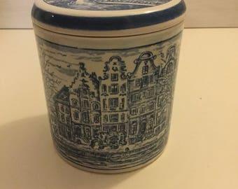 Blue Delft Pottery Lidded Jar