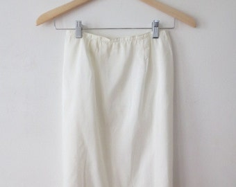 Vintage '60s Classic American Maid Ivory Tailored, Zippered Half Slip, XS - Small