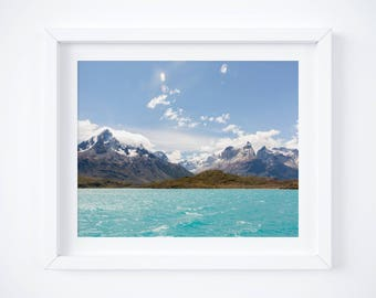 Patagonia landscape photo print - Chile nature print - Mountain art photography - Blue turquoise decor - Modern travel - Large wall art