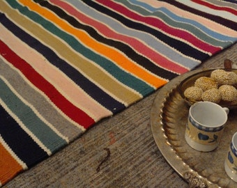 colorful striped kilim Rug