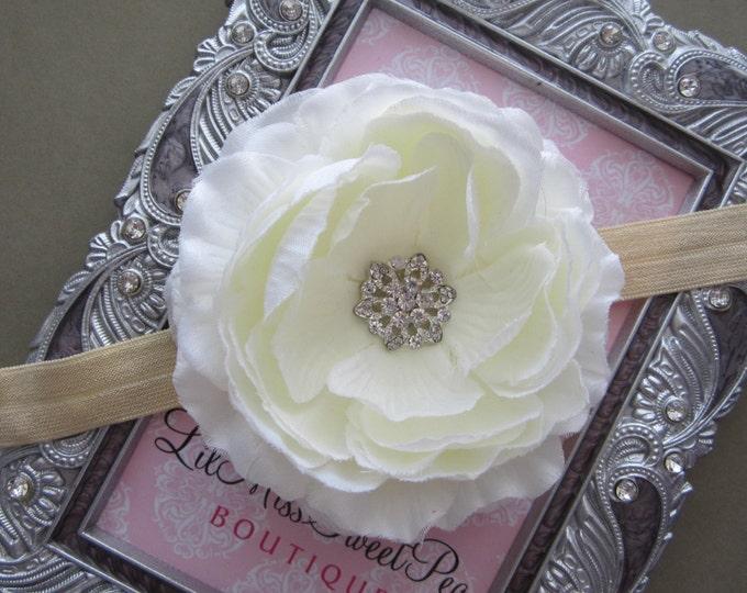 Cream Ranunculus Flower with a Rhinestone Center - 4 inch flower