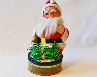 Vintage Christmas Santa, Rubber Face Santa On A Pedestal Made In Japan
