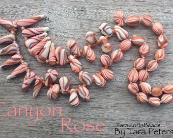 Handmade Polymer Clay Bead Set, Pink Copper White Beads, Artisan Polymer Clay Beads, Polymer Pendants, Polymer Necklace Beads, OOAK Beads