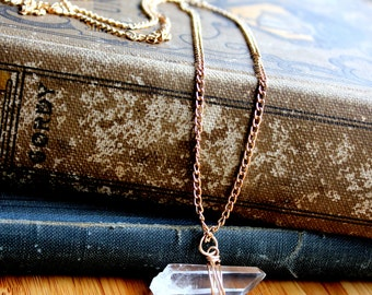 Raw Horizontal Quartz Necklace