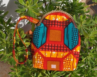Wristlet Purse, Kiss-lock Clasp Purse, Ethnic Fabric Purse