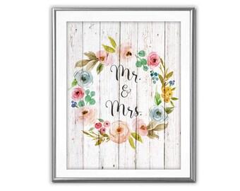 SALE-Floral Wreath On White Barn Wood- Mr. & Mrs.-Digital Print-Wall Art-Digital Designs- Quote Printable- Art Prints- Flower Wreath Art